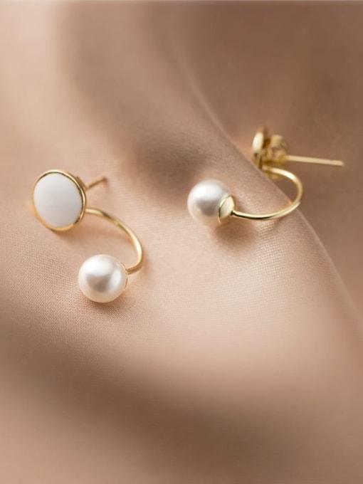 Rosh 925 Sterling Silver Imitation Pearl Geometric Minimalist Hook Earring