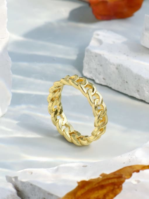 CHARME Brass Hollow Geometric Chain Vintage Band Ring 1