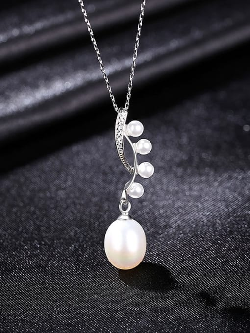 White 8B04 925 Sterling Silver Freshwater Pearl Water Drop Minimalist Necklace