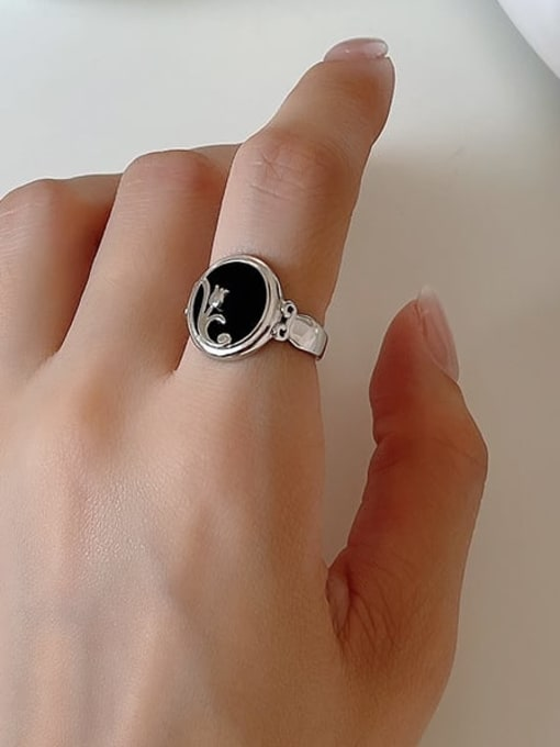 Boomer Cat 925 Sterling Silver Carnelian Round Vintage Band Ring 3