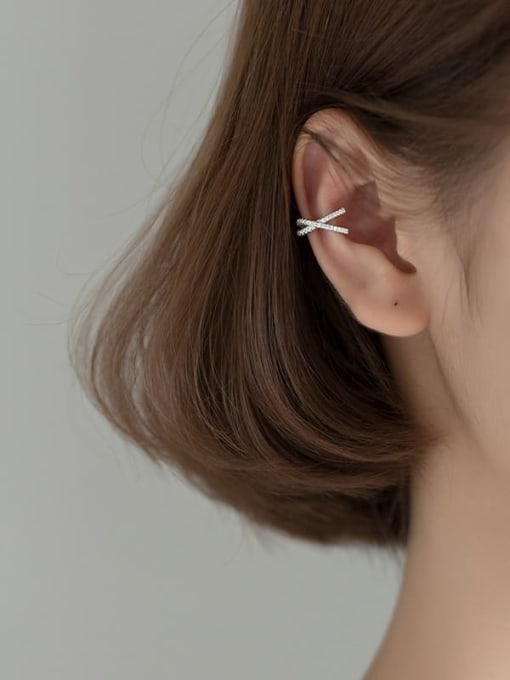 Rosh 925 Sterling Silver Rhinestone Cross Minimalist Stud Earring 1