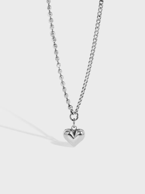 DAKA 925 Sterling Silver Smooth Heart Vintage Necklace