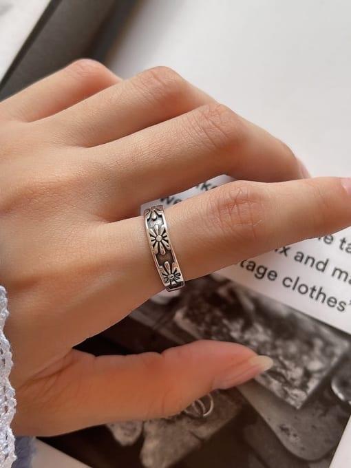 Sun flower ring J39 2.5G 925 Sterling Silver Irregular Vintage Band Ring
