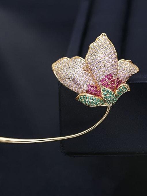 Golden pink gradient Brass Cubic Zirconia Flower Trend Brooch