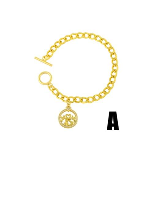 A Brass Cubic Zirconia Heart Vintage Link Bracelet