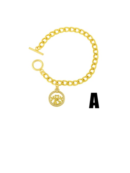 CC Brass Cubic Zirconia Heart Vintage Link Bracelet 0