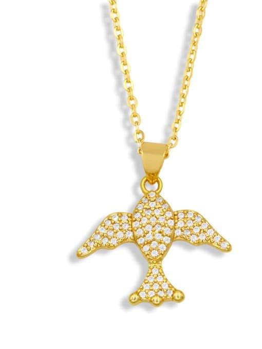 B Brass Cubic Zirconia Fish Vintage Necklace