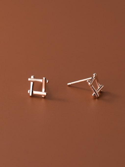 Rosh 925 Sterling Silver Square Minimalist Stud Earring 2