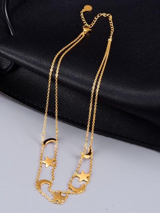 A TEEM Titanium Steel Star Vintage Multi Strand Necklace 3