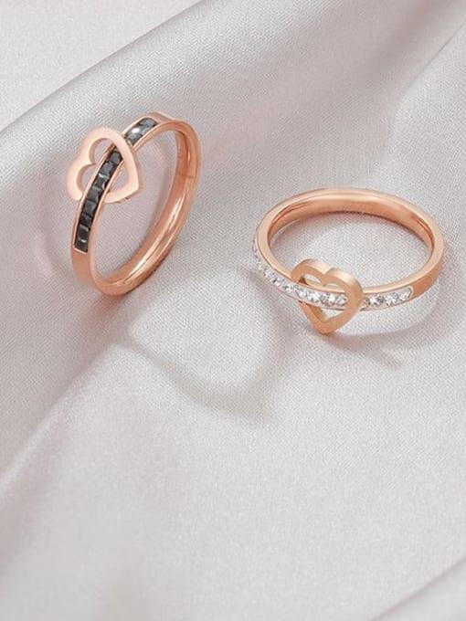 MIYA Titanium Steel Rhinestone Heart Minimalist Band Ring 1