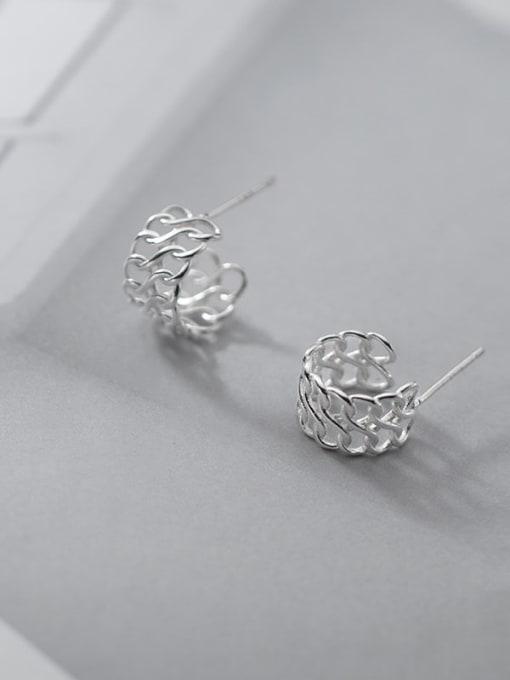 Rosh 925 Sterling Silver  Minimalist Woven hollow C-shaped earrings 1