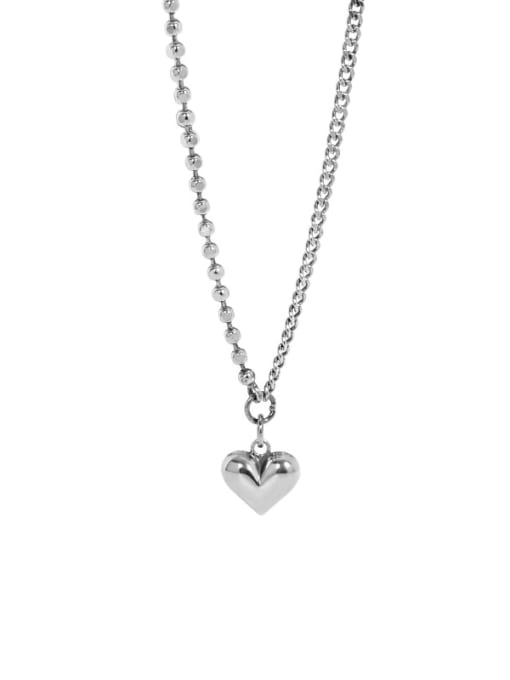 Retro Silver 925 Sterling Silver Smooth Heart Vintage Necklace