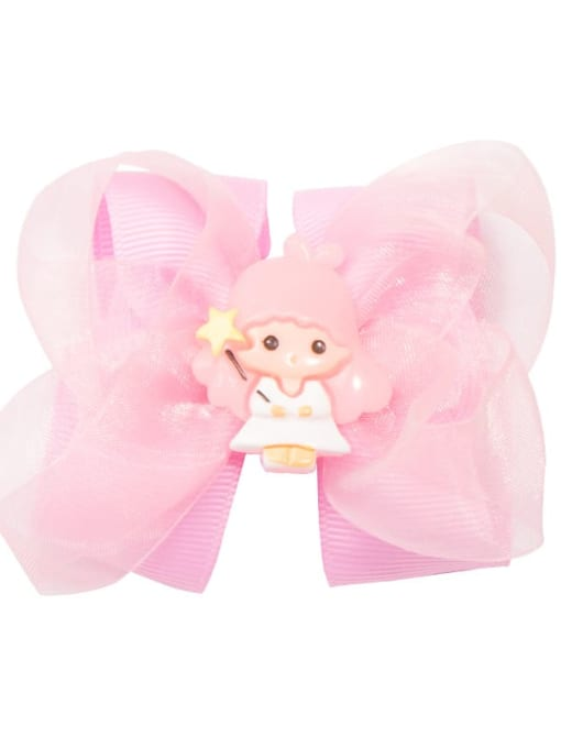9 Little Pink Angel Alloy  Fabric Cute Bowknot Multi Color Hair Barrette