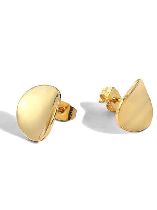 golden Brass Geometric Vintage Stud Earring