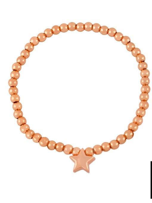F (rose gold) Brass Star Minimalist Beaded Bracelet