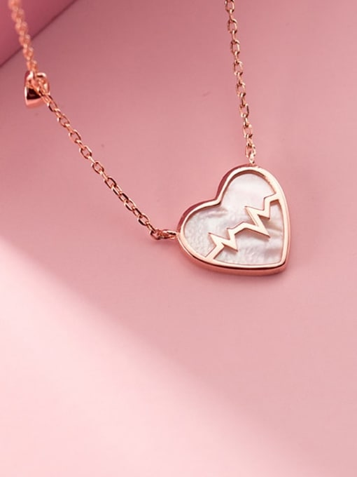 Rosh 925 Sterling Silver Acrylic Heart Minimalist Necklace