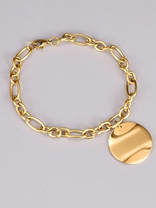 A TEEM Titanium Steel Geometric Hip Hop Hollow Chain Bracelet 0