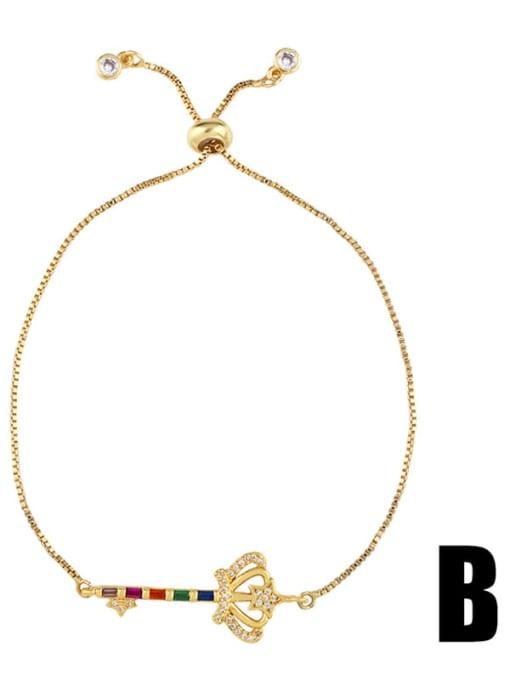 Brb60b Brass Cubic Zirconia Crown Ethnic Adjustable Bracelet