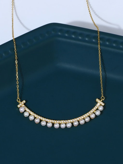 RAIN 925 Sterling Silver Freshwater Pearl Geometric Minimalist Necklace 1