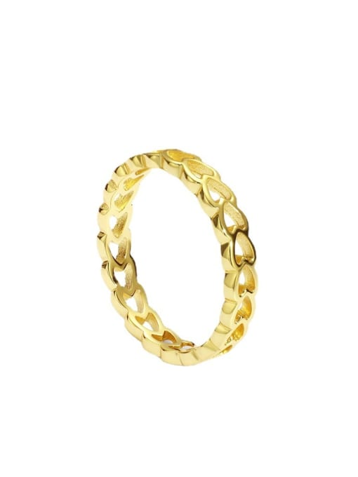 CHARME Brass Hollow Heart Minimalist Band Ring 3