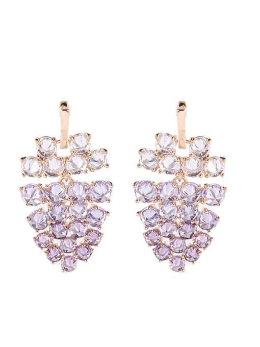 Luxu Brass Cubic Zirconia Friut Statement Drop Earring 2