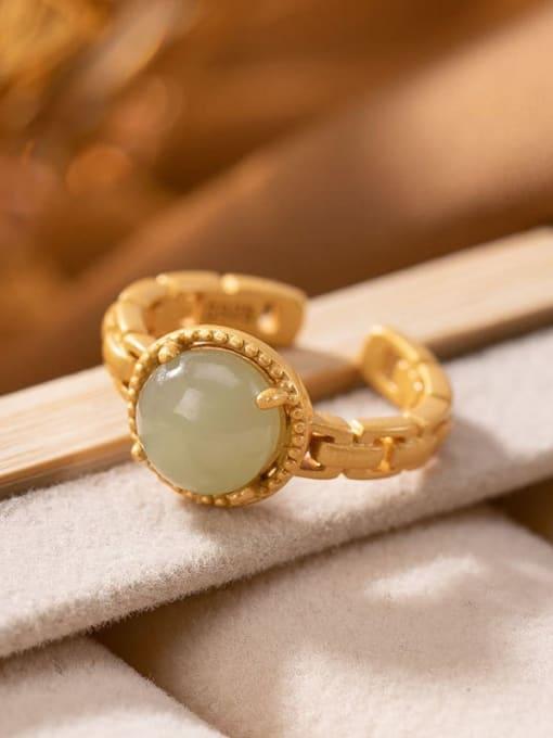 DEER 925 Sterling Silver Jade Round Vintage Band Ring 3