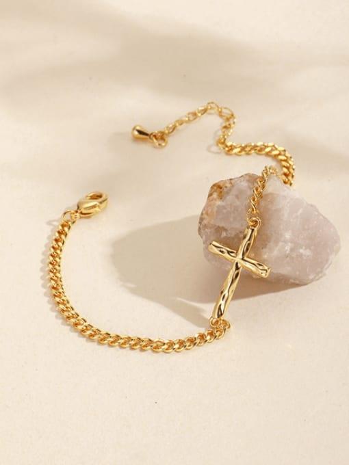 CHARME Brass Cross Minimalist Hollow  Chain Link Bracelet 0
