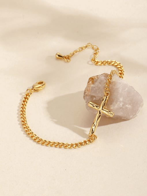 CHARME Brass Cross Minimalist Hollow  Chain Link Bracelet