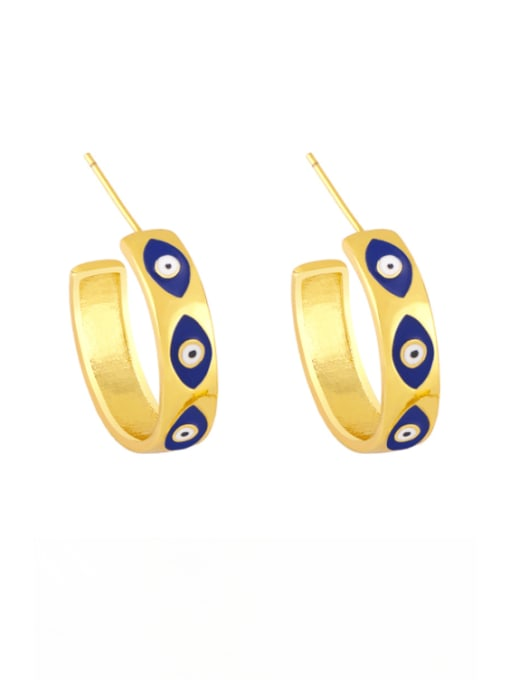 blue Brass Enamel Evil Eye Minimalist Stud Earring