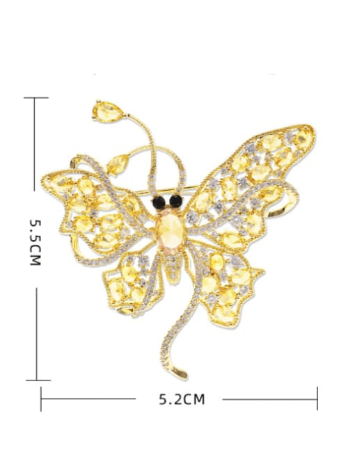 Luxu Brass Cubic Zirconia Butterfly Statement Brooch 3