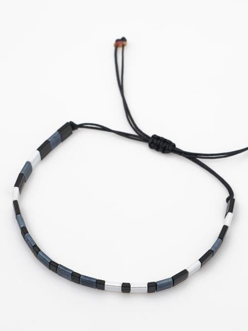 Roxi Stainless steel Tila Bead White Geometric Bohemia Handmade Weave Bracelet 1
