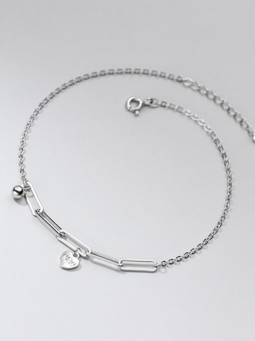 Rosh 925 Sterling Silver Cubic Zirconia  Heart Minimalist Anklet 2