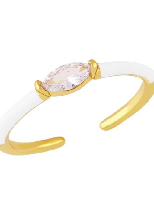 white Brass Enamel Cubic Zirconia Geometric Minimalist Band Ring
