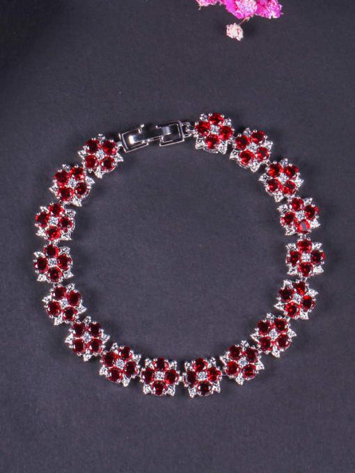 red Brass Cubic Zirconia Flower Dainty Bracelet