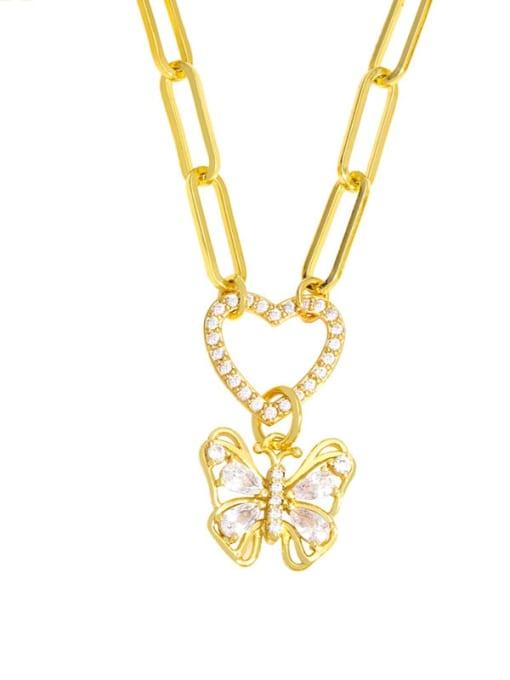 B Brass Cubic Zirconia Letter Hip Hop Heart Pendant Necklace