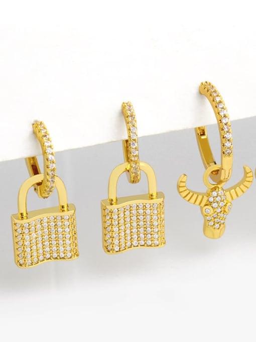 CC Brass Cubic Zirconia Locket Vintage Huggie Earring
