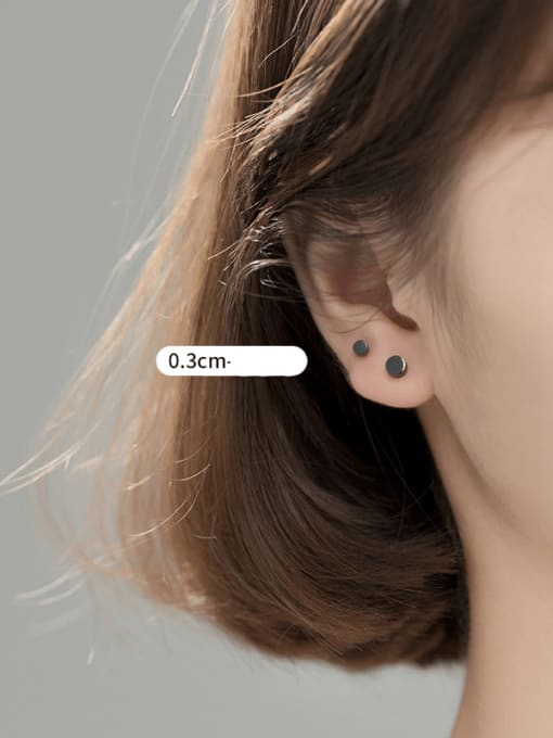 S925 silver PAIR BLACK SMALL 925 Sterling Silver Round Minimalist Stud Earring