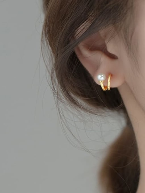 Rosh 925 Sterling Silver Imitation Pearl Irregular Minimalist Stud Earring 1