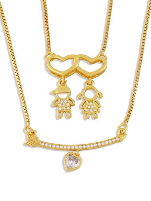 CC Brass Cubic Zirconia Heart Cute  Boy Girl Pendant Necklace