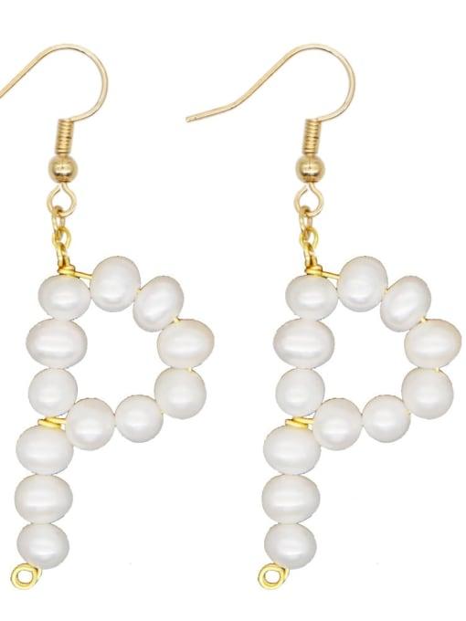ZZ E200079P Stainless steel Freshwater Pearl Letter Ethnic Drop Earring