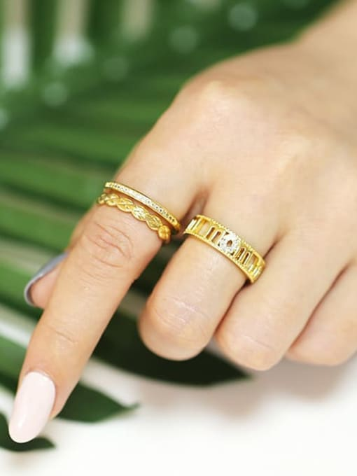 CC Brass Cubic Zirconia Geometric Vintage Band Ring 1