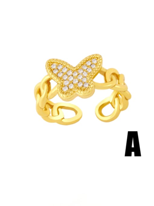A Brass Cubic Zirconia Star Vintage Band Ring