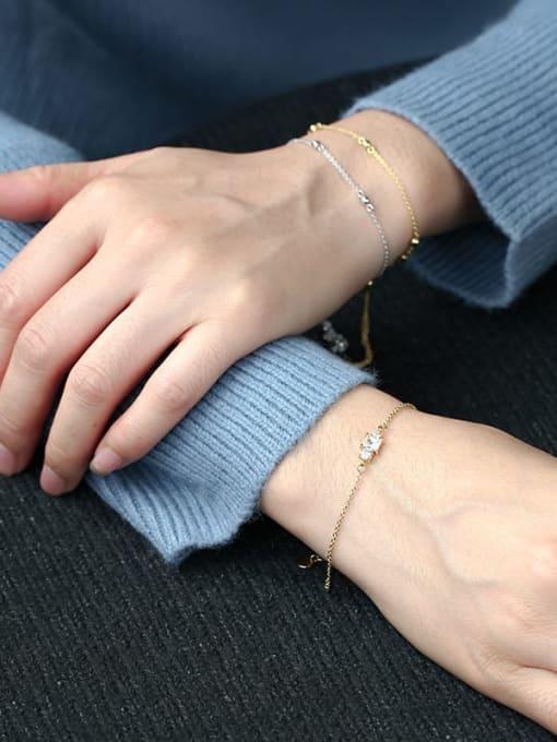 CHARME Brass Cubic Zirconia Geometric Vintage Link Bracelet 2