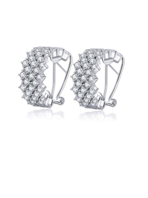 L.WIN Brass Cubic Zirconia Geometric Statement Stud Earring 3