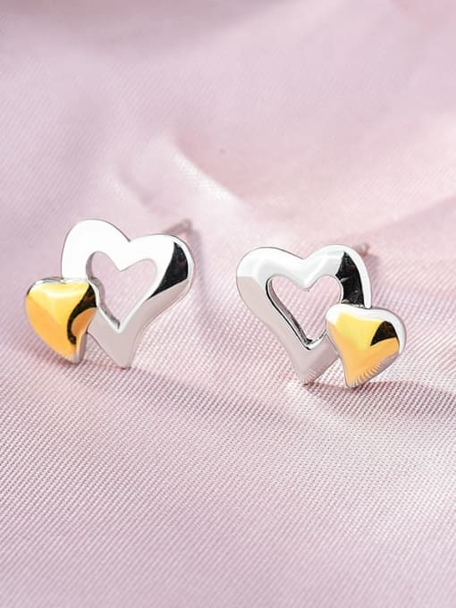 Gold is divided into platinum 925 Sterling Silver Heart Minimalist Stud Earring