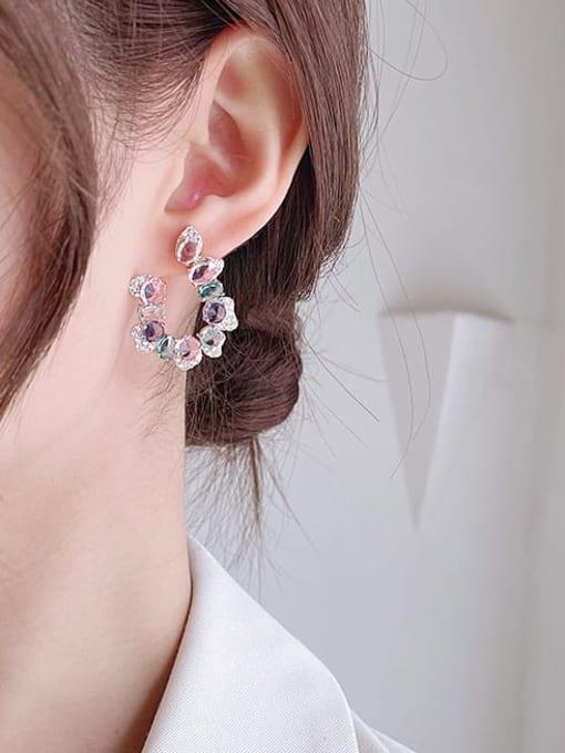 Luxu Brass Cubic Zirconia Flower Luxury Stud Earring 1