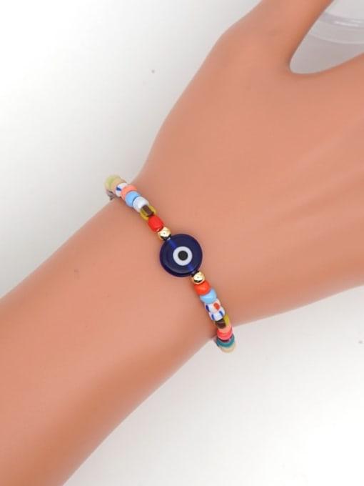 Roxi Stainless steel  Glass Bead Multi Color Smiley Bohemia Stretch Bracelet 1