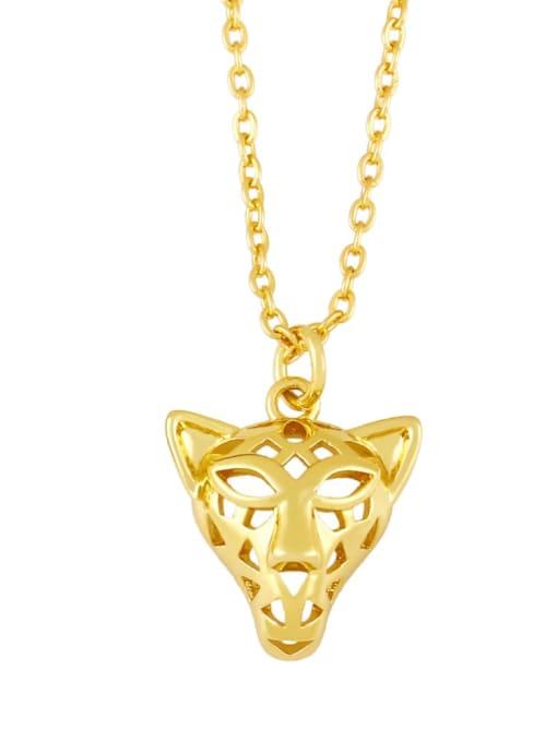 C Brass Icon Cute Little bear leopard head Pendant Necklace