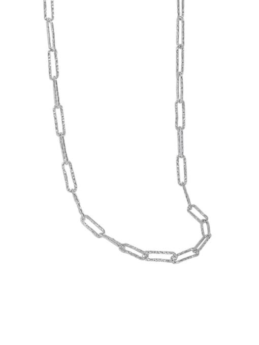 silvery 925 Sterling Silver Geometric Minimalist Necklace