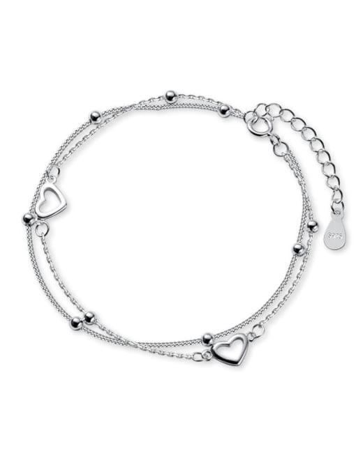 Rosh 925 Sterling Silver Heart Minimalist Strand Bracelet 3